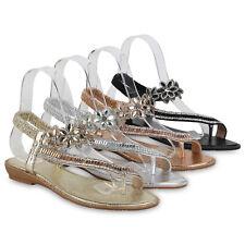Damen Zehentrenner Sandaletten Ethno-Look Strass Keilabsatz Schuhe 899743 Top