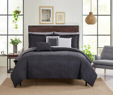 10-Piece King Bed-in-a-Bag Bedding Set and Decorative Pillows Gray Textured