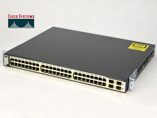 "Profesional 19"" 48cm Network switch Cisco Catalyst ws-c3750-48ps-e Poe o502"