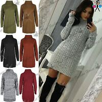 Womens Ladies Cowl Neck Pullover Cable Knitted Oversized Jumper Mini Dress Top