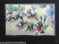 #H21- Vintage Unused Alfred Mainzer Postcard Cats Playing Leap Frog  Game