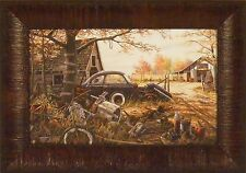 ANOTHER MAN'S TREASURE by Ken Zylla Car Junkyard Antique 11x15 FRAMED PICTURE