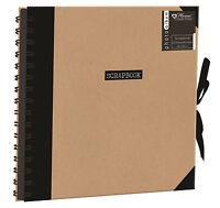 Black Scrapbook Photo Album Spiral Bound Black Paper Ribbon Tie Journal NETL/1