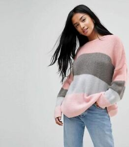 New Ladies Ex ASOS Chunky Jumper Sweater In Pink Grey Block Stripe RRP £32