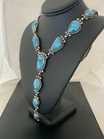 Sterling Silver Necklace Native NAVAJO KINGMAN SPIDERWEB TURQUOISE LARIAT Set585