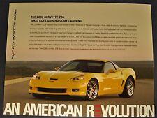 2006 Chevrolet Corvette Z06 Sales Brochure Sheet Excellent Original 06