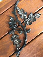 Vtg Heavy Wrought Iron Osk Leaves & Acorn Interior/exterior Decor Piece