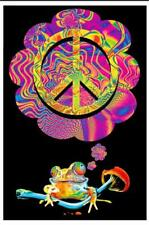 MUSHROOM PEACE - BLACKLIGHT POSTER - 24X36 FLOCKED SMOKING 1984