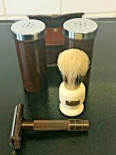 Vintage Leather Wardonia Travel Kit w/ Bakelite Razor, Brush & Containers