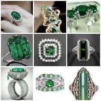 Huge 8.2ct Emerald Women Men 925 Silver Ring Engagement Wedding Prom Size 6-10