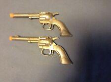 2 Vintage Hubley Pal Antique Toy Cap Gun Pistol Colt 45 usa diecast cowboy