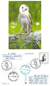 Moldova 2016 PSC birds of prey stamps with FD Cancel Barn owl