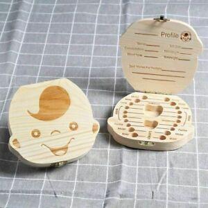 Boy&Girl Kids Tooth Box organizer for baby Save Milk teeth Wood Storage Box