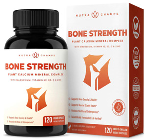 Bone Strength Supplement with Plant Based Calcium, Magnesium, Potassium, Zinc,