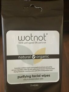 Wotnot 5 Pack Facial Wipes Purifying Face Oily Combination Skin Organic Travel
