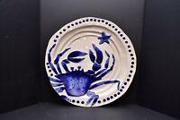 "BLUE SKY Ceramics CLAYWORKS Magic SEA DIANE CRAB Pottery Platter TRAY LG 14.5"""