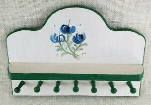 """11"""" Hand Painted Shelf and Key Hanger - White with Green Trim and Blue Flowers"""