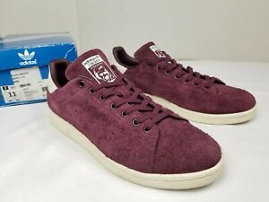 Adidas Originals Stan Smith Men Sz 11 Suede Leather Maroon 2016 Release S82247