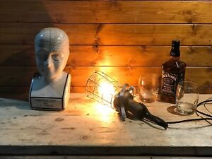 Rare Early 20th Century Vintage Wooden Handled Inspection Lamp, Industrial Home.