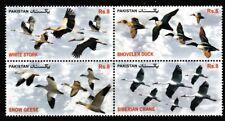 Birds mnh se-tenant block of 4 stamps 2012 Pakistan #1173 Duck Stork Geese Crane