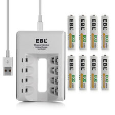 8x EBL AAA Rechargeable Batteries +4-Slot USB AA AAA NIMH NI-CD Battery Charger