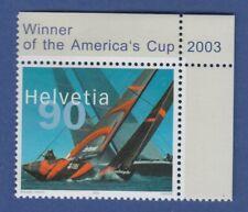 Schweiz 2003 Sondermarke Sieg Segelyacht Alinghi **  Eckrandstück oben rechts