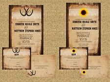 Wedding Invitations Sunflower or Horseshoe Wood Lace 50 Invitations & RSVP Cards