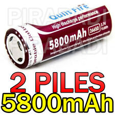 2 PILES ACCUS RECHARGEABLE BATTERIE 26650 5800mAh 3.7V Li-ion BATTERY