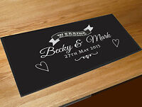 Personalised Wedding Day Gift Black bar runner party mat