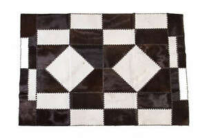 Aydin Mosaic Cowhide Patchwork Area Rug Black White Hand Stitched 4'7''X6'6''