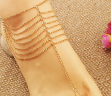 New 2 Women Summer Multilayer Barefoot Sandals Slave Foot Jewelry Ankle Chain