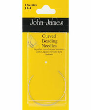 2 John James Size 10 Curved Beading and Sequin Cross Stitch Needles #JJ31