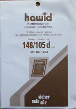 HAWID STAMP MOUNTS Block Size 148 x 105mm BLACK Pack of 10   - Ref. No. 1202