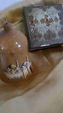 Eclectic Moroccan Decorative Wood Bell or Ornament + Exotic Vntg Wood Box 2 Pcs