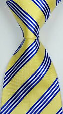 New Classic Striped Yellow Blue White JACQUARD WOVEN Silk Men's Tie Necktie