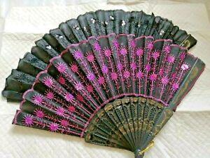 Black Lace Folding Fan Hand Held Spanish Dance Tela Flower Silk Wedding Party