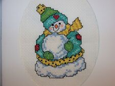 Handmade Adorable Snowman Finished Completed Cross Stitch Card 6 x 8