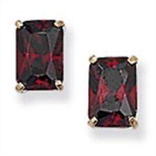 9ct Gold Emerald Cut Garnet Cubic Zirconia Stud Earrings 0.68g