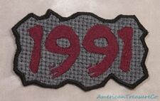 Embroidered Retro Vintage 90s Burgundy & Gray Grunge 1991 Year Patch Iron On USA