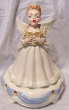 "9"" Musical Ceramic Choir Angel plays ""Silent Night"", white trimmed with blue"