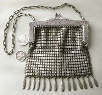 Antique G Silver Fancy Floral Lattice Frame 14 Tassel Chain Mail Coin Purse #17