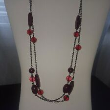 LONG NECKLACE  BURGUNDY  BEADS ON GUNMETAL GRAY CHAIN 48""