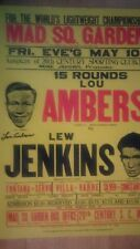 BOXING LEGEND LOU AMBERS SIGNED JENKINS FIGHT POSTER LIGHTWEIGHT CHAMPIONSHIP