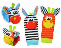 4pcs Cute Animal Infant Baby Kids Hand Wrist Bell Foot Sock Rattles Soft Toy -US