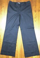 Ann Taylor LOFT Womens Dress Pants Flat Front Cuffed Wide Leg Sz 8 Charcoal Gray