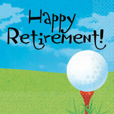 RETIREMENT Tee Time SMALL NAPKINS (16) ~ Birthday Party Supplies Beverage Cake