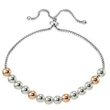Rose Gold over Sterling Silver Two Tone 6mm Bead Adjustable Bracelet