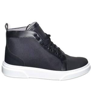 Sneakers uomo alta in vera pelle gommata, vitello e tela impermeabile modello ca