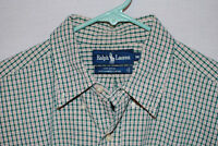 Vintage Polo Ralph Lauren L/S Textured Plaid Mens Shirt Made in USA Size M NWOT