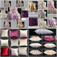 Throw over bedspread Shiny Crushed Velvet Sofa or bed Cushion Cover 8 colours